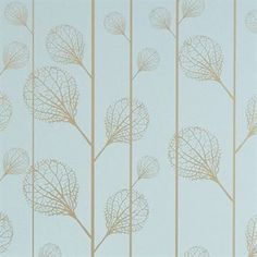 Ribbed wallpaper - turquoise/gold - Ferm Living