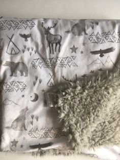 Woodland moose bear gray Baby Blanket triangle by DwellDarling