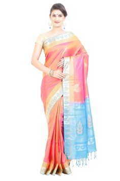 Enshrine your ‪#‎beauty‬ to be a statement for an irreplaceable ‪#‎fashion‬ with selecting an ultimate ‪#‎saree‬ fascinatingly designed with full body in Shiny ‪#‎Pink‬ & Sky ‪#‎Blue‬ color and the best part is the pallu, finely Crafted with Tropical Tree Motives