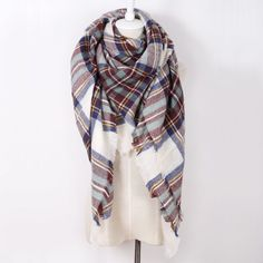 Winter Scarf Brand triangle Tartan Cashmere Scarf Women Wool Plaid Blanket Scarf Pashmina Wrap Shawls and Scarves Hijab