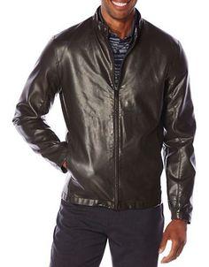 Perry Ellis Faux Leather Jacket Men's Dark Brown X-Large