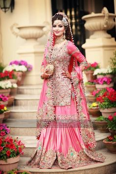 Pakistani Bride in Candy Pink Gharara. Traditional and classic masterpiece.