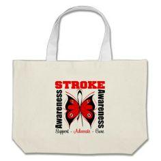 Stroke Awareness Butterfly Bags by giftsforawareness.com #StrokeAwareness #StrokeAwarenesstotebags