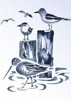 Coastal Birds Stencil 2 - Henny Donovan Motif Coastal Birds Stencil 2 Sandpiper and Seagulls Stencil Beach Stencils, Bird Stencil, Damask Stencil, Stencil Patterns, Stencil Designs, Fabric Painting, Faux Painting, Wood Burning Stencils, Sea Birds