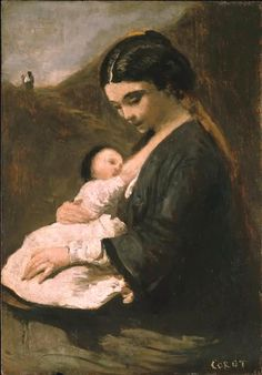 Jean-Baptiste-Camille Corot - Mother and Child, circa 1860-1869