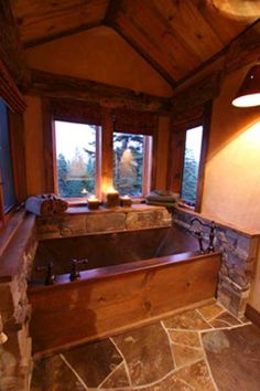High Camp Home | Mountain Living.  Love this configuration...nice countertop and windows!