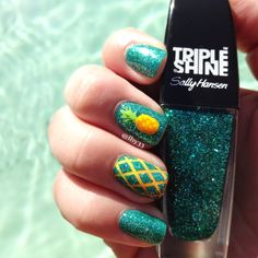 "Pineapple Nail Art.  Used Icing ""Marine Blue"" with Sally Hansen Triple Shine ""Seanic"" on top. #nailart."