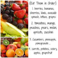 in order saves money. It allows us to shop once a month and still eat healthy. I even made you a quick cheat sheet up above. Gives you an idea of what types of fruits and veggies should be eaten each week during the month. If I notice something needs to be eaten, then I will browse my cookbooks for a recipe with that item. I then incorporate it