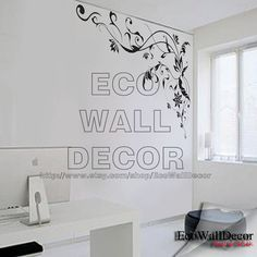 PEEL and STICK Removable Vinyl Wall Sticker Mural Decal Art - Black Vine Frame Hanging