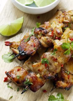 Easy, delicious and healthy Cilantro Chili Chicken Skewers recipe from SparkRecipes. See our top-rated recipes for Cilantro Chili Chicken Skewers. Clean Eating, Healthy Eating, Healthy Food, Healthy Asian Recipes, Easy Recipes, Healthy Grilled Chicken Recipes, Dinner Recipes, Thai Recipes, Dinner Ideas