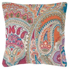 """This product must be ordered in multiples of 2.Paisley cotton pillow.   Product: PillowConstruction Material: Cotton cover and polyester fillColor: Off-white and multiFeatures:  Insert includedHidden zipper closureDimensions: 22"""" x 22""""Cleaning and Care: Machine washable in cold water on gentle cycle. Lay flat to dry."""