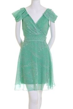 Amazon.com: My Beloved Multi-Patterned V-Neck Lined Dress Mint Green: Clothing