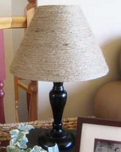 diy decorating with jute | DIY Decor - Light It / Simply Glue Jute Twine on an old lampshade for ....already did this with a thrift store lamp and thick rope from Lowe's. It turned out great!