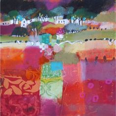"""""""Fields from Torr Road"""" by Emma S Davies Abstract Landscape Painting, Landscape Art, Landscape Paintings, Illustration Art, Illustrations, Whimsical Art, Art Plastique, Beautiful Paintings, Painting Inspiration"""