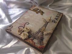 Caixa Paris -arte com scrap de flores e apliques - Rachel Simonini