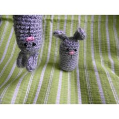 "This is a pattern for a little bunny. He's 2.5"" tall (with ears), so he'll nicely stick out from your Easter basket or any other spring decoration. Oh, and there's also his pal, a bunny finger puppet. Of course, they'll be happy to keep you company, not only during Easter. I hope you'll enjoy making both! To make things easier for you, there's a handy printable version at the end of the file. Just be careful, they're both quite sneaky… and a bit crazy.You're very much welcome to join my…"
