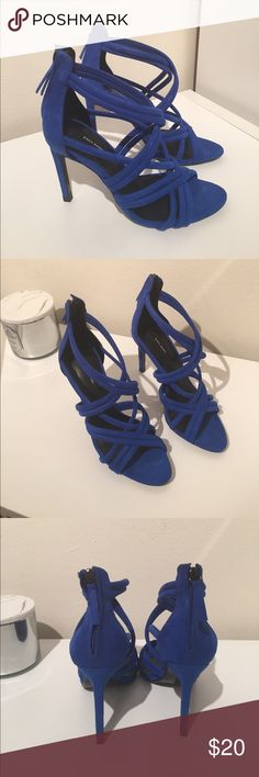 Zara Basic Cobalt Blue Strappy Heels Suede strappy heel in great condition. Perfect for making a statement. Zara Shoes Heels