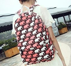 Sealike New Trendy Fashion Unisex Cartoon Elephant Print Backpack Leisure Backpack Casual School Bag Rucksack Korean Knapsack Laptop Backpack Shoulders Backpack for Teens Students Women Ladies Girls Boys Red .- Click image twice for more info - See a larger selection of boys teens backpacks - kids, boys, little boys, school supplies, kids fashion , teenager, bags.