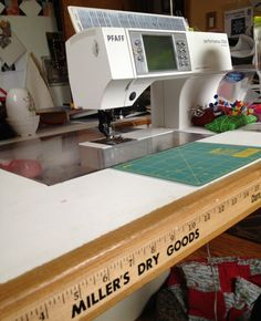 Attach a yardstick to the edge of your sewing table. Always there for quick measurements.