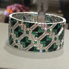 Giampiero Bodino Important Emerald and Diamond Cuff Bracelet | Saved for Future Outfits in Gabrielle's Amazing Fantasy Closet
