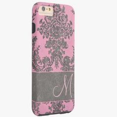 iPhone 6 Plus Cases | Vintage Damask Pattern with Monogram Tough iPhone 6 Plus Case