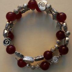 "Unikat Armband ""VENICE"" mit Silber und rotem Jade  von Menara d'oro auf DaWanda.com"