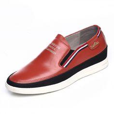 2016 premium men height increasing loafers 6cm / 2.36inch orange slip on board shoes