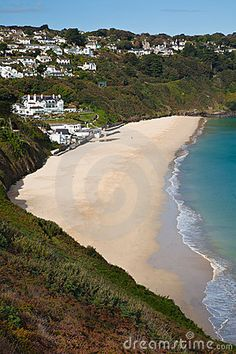 Carbis Bay Beach Photo - The beach is surrounded by sub-tropical vegetation, making this location one of the most attractive in Cornwall Places To Travel, Places To See, British Beaches, Holidays In Cornwall, Into The West, Devon And Cornwall, Holiday Places, England And Scotland, Destinations