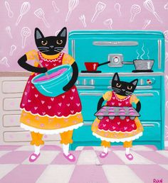 Making Cupcakes Kitchen CATS Original Cat Folk Art Painting by KilkennycatArt