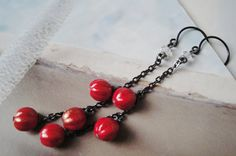 Red Winter Berries Hanging Earrings Swarovski by OceanaireDreamer