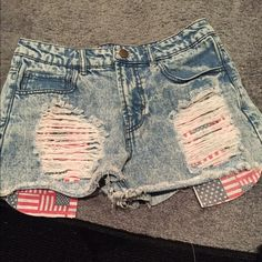 High wasted ripped shorts American flag ripped shorts Forever 21 Jeans