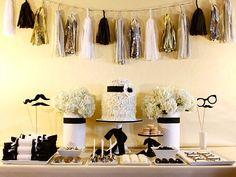 black white and silver tassle garland