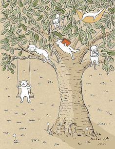 Cats in a tree I Love Cats, Crazy Cats, Cat City, Japanese Cat, Cat Drawing, Cute Art, Cats And Kittens, Illustrators, Kawaii