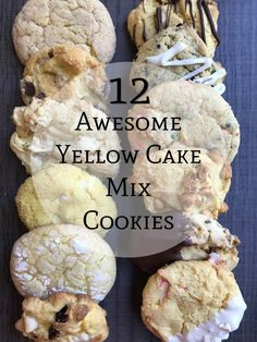 12 Awesome Yellow Cake Mix Cookie Recipes - These are all delicious, especially the lemon one!<br> With a box of yellow cake mix prepared with a basic recipe and various mix-ins that you proba Yellow Cake Mix Cookies, Lemon Cake Mix Cookies, Cake Mix Desserts, Cake Mix Cookie Recipes, Lemon Cake Mixes, Yellow Cake Mixes, Yummy Cookies, Cake Cookies, Just Desserts