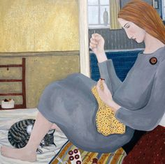 'Sewing On Buttons' By Painter Dee Nickerson. Blank Art Cards By Green Pebble. www.greenpebble.co.uk