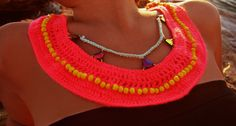 crochet necklace with beads & swarovski by WED.LAB