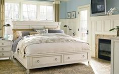 Summer Hill Storage Bedroom Set (Cotton) by Universal Furniture in Bedroom Sets. Stylish without being snobby, Summer Hill Storage Bedroom Set by Universal Furniture is both fresh and familiar. Timeless silhouettes combine with metropolitan sensibility in White Bedroom Furniture, Bedroom Decor, Bedroom Storage, Wood Furniture, Cheap Furniture, Furniture Ideas, Coastal Furniture, Country Furniture, Furniture Outlet