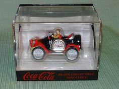 COCA COLA BRAND COLLECTIBLE MINIATURE CLOCK OLD TIME CAR NEVER REMOVED FROM BOX Coca Cola Brands, Miniature Cars, Tic Toc, 60th Birthday, Coke, Lunch Box, How To Remove, Heaven, Miniatures
