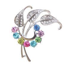 Silver-Plated-Wedding-Brooch-Pin-Leaf-Crystal-Gem-Rhinestone-Colorful-Jewelry