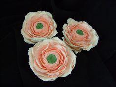 Sugar Gumpaste Romantic Ranunculus Shades of Peach Set of 3 $60.00