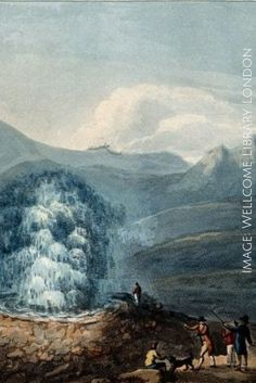 """The """"Great Geyser"""" boiling spring, Iceland, in eruption. Coloured engraving by Francis Chesham, London 1797.   Image Credit: Wellcome Library, London.  Do you write a historical novel about Iceland? Here's a resource with hundreds of recipes from the Icelandic island. --> http://howtowritehistory.com/food-iceland/"""