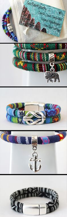 Hit up Sea Ranch Jewelry at www.searanchjewelry.etsy.com for colorful, casual, #vegan #bracelets and #anklets! #HandmadeJewelry #woven #jewelry #giftideas #forhim #forher