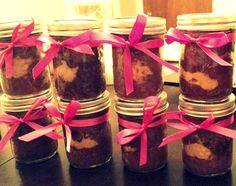 ((Reese Cake in a Jar)) Step 1. Preheat  oven to 350F  Step 2. Spray jars with canola oil  Step 3. Make chocolate cake recipe  Step 4. Scoop 3 or 4 tablespoons of your chocolate cupcake recipe in each jar   Step 5. Add 2 tablespoons of peanut butter over mix.  Step 6. Add 2-3 more tablespoons of mix.  Step 7. Bake around 25 minutes.