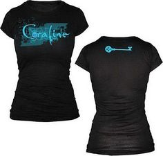 Coraline Logo & Blue Key Black Juniors T-Shirt