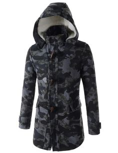 (UQLC01-NAVYGRAY) Mens Camouflage Pattern Fur Quilt Toggle Button Hooded Duffel Half Coat