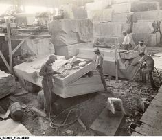 Carving Limestone at Indiana Limestone Company in Bedford, Indiana - October 1929