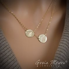 double initial circular necklace   Double Layered Initial Necklace, Two Large Discs Initials Necklace ...