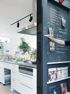 Accent wall by island Interior Design Kitchen, Interior Decorating, Japanese House, Black Walls, Interior Design Inspiration, Home Renovation, Ideal Home, Kitchen Remodel, Decoration