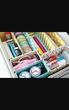 Ideas diy desk organization boxes drawer dividers desk With Drawers Dorm Storage, Storage Hacks, Craft Storage, Storage Ideas, Storage Solutions, Drawer Ideas, Office Storage, Fabric Storage, Easy Storage