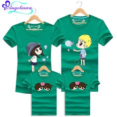 14 Colors Family Look Father Son Mother Short Sleeve Mother Daughter Outfits Cotton Family Tshirt Character Matching clothes